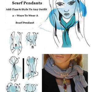 Stella Scarves Accessories - Tourmaline Chips Tree of Life Scarf Pendant Set